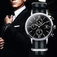 SINOBI Men's Fashion Sports Military Watches Chronograph Mens Quartz Wristwatches Waterproof James Bond 007 Relogio Masculino