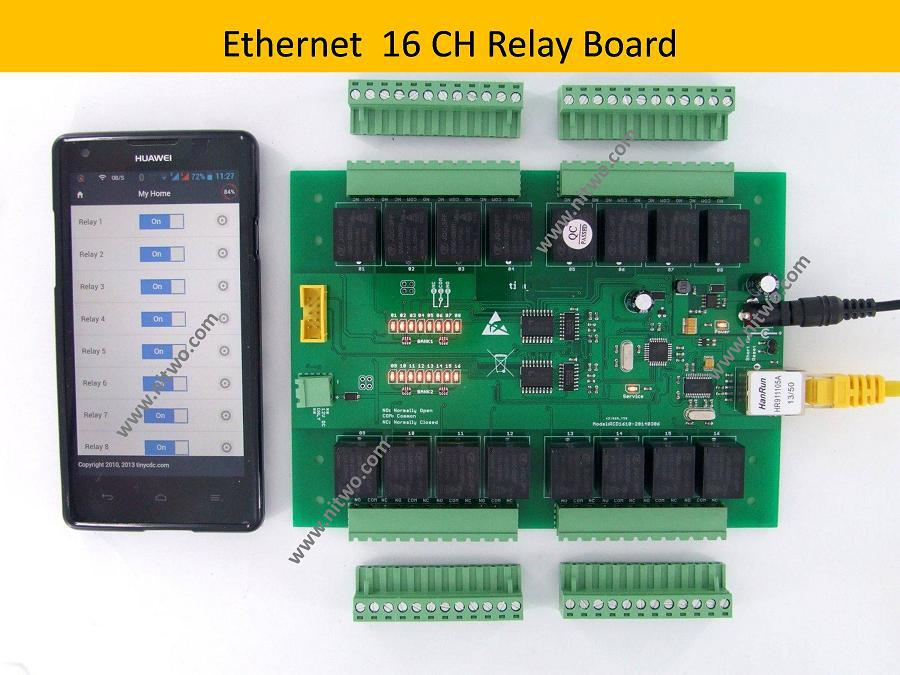 Network 16 CH Ethernet relay board Android phone computer Control smart home automation control remote control module WebAPI(China (Mainland))