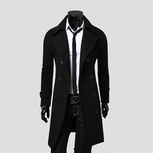 Black Grey Camel Warm Long Jackets Outerwear Double Breasted Slim Trench Coat Overcoat Men#75970(China (Mainland))