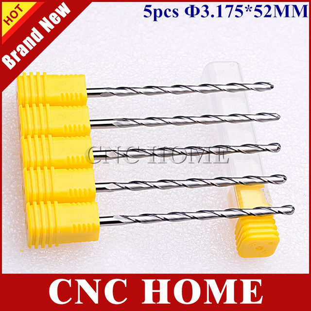 Free Shipping 5 x 3.175*52mm Carbide Ball Nose End Mill Cutter, Two Flute CNC Router Bits, Wood Tools, 3D Carving Relief