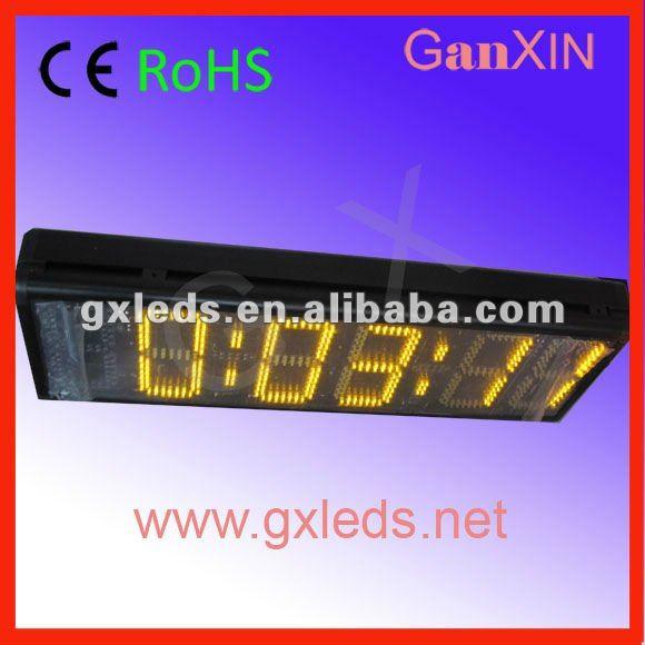 8inch big yellow high brightness aluminium frame wall mounted led double sided wall clocks(China (Mainland))