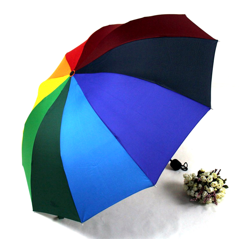 1 pc Creative Rainbow Umbrella Big Umbrella Straight Three Folding Colorful Handle Sunny And Rainy Umbrella outdoor W5(China (Mainland))