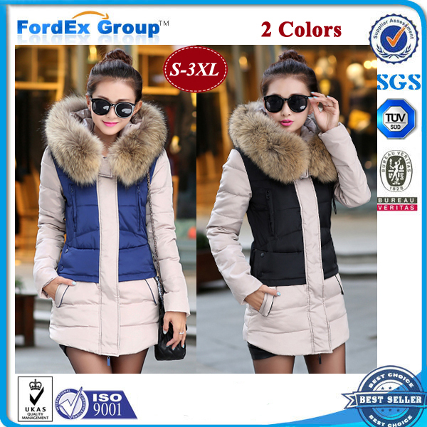 2015 Jacket Women Winter Coat Thicken Slim Female Raccoon Fur Collar Long Parka - Fordex Industrial Group Limited store