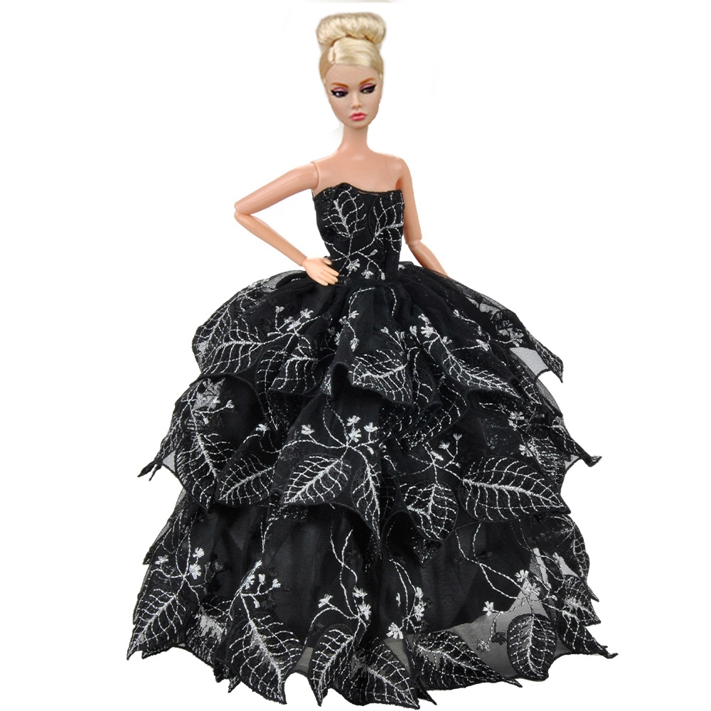 Dolls Clothes Prom Dresses Black Evening Party Gown Dress Up For Barbie Dolls A(China (Mainland))
