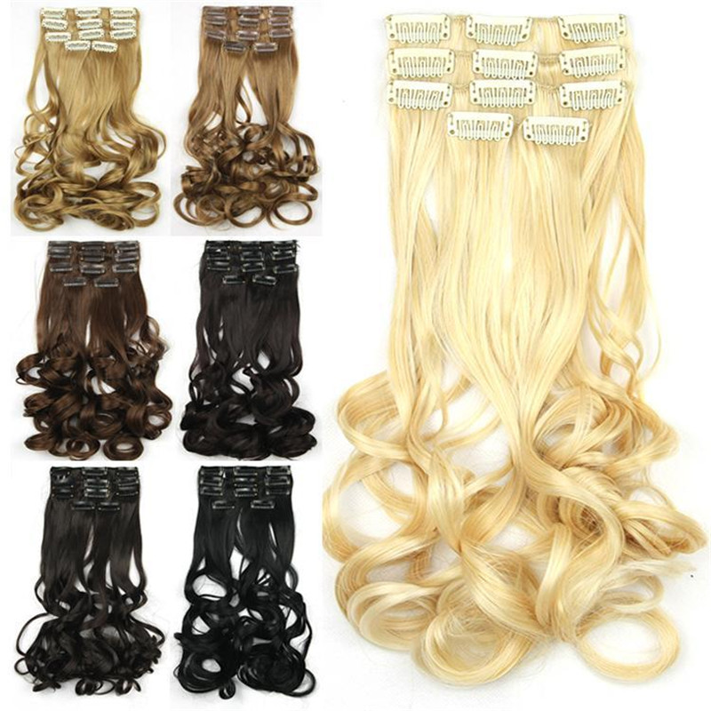 1SET 23inch/60cm 75g Synthetic Curly Weave 5pcs Set Clip in Hair Extension 7Colors/Multi Color Blonde Hair Extensions