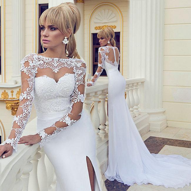 2014 Sexy Side Slit White Wedding Dress Lace Bodice Open Back Long Sleeve Wedding Gown Chiffon vestidos de noiva(China (Mainland))