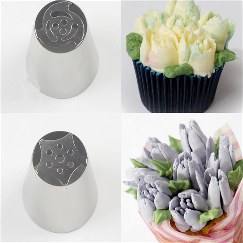 10pcs Russian Tulip Nozzle For Cake Cupcake Decorating Icing Piping Nozzles russian rose nozzles tips DIY Stainless Pastry Tips(China (Mainland))