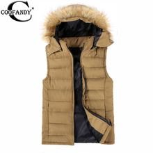 COOFANDY New Arrival Slim Man Vest 2015 Autumn Winters Hooded Cotton Padded Men's Vests Faux Fur Waistcoat Tops(China (Mainland))