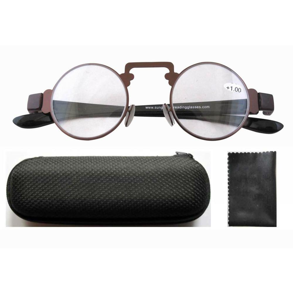 Mens Thin Frame Glasses : R11044 Brown Thin Metal Round Frame Plastic Arms Retro ...