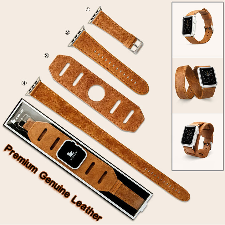 2016 Vintage Genuine Leather watch strap Bracelet 3in1 Single/Double Tour WristBand for Apple Watch Band iWatch Sport 38mm 42mm(China (Mainland))