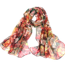 georgette fular fashion Women Chiffon Floral Printed Designer Scarf Gradient Plaid Flower Casual Silk Scarves Long Wrap Pashmina(China (Mainland))
