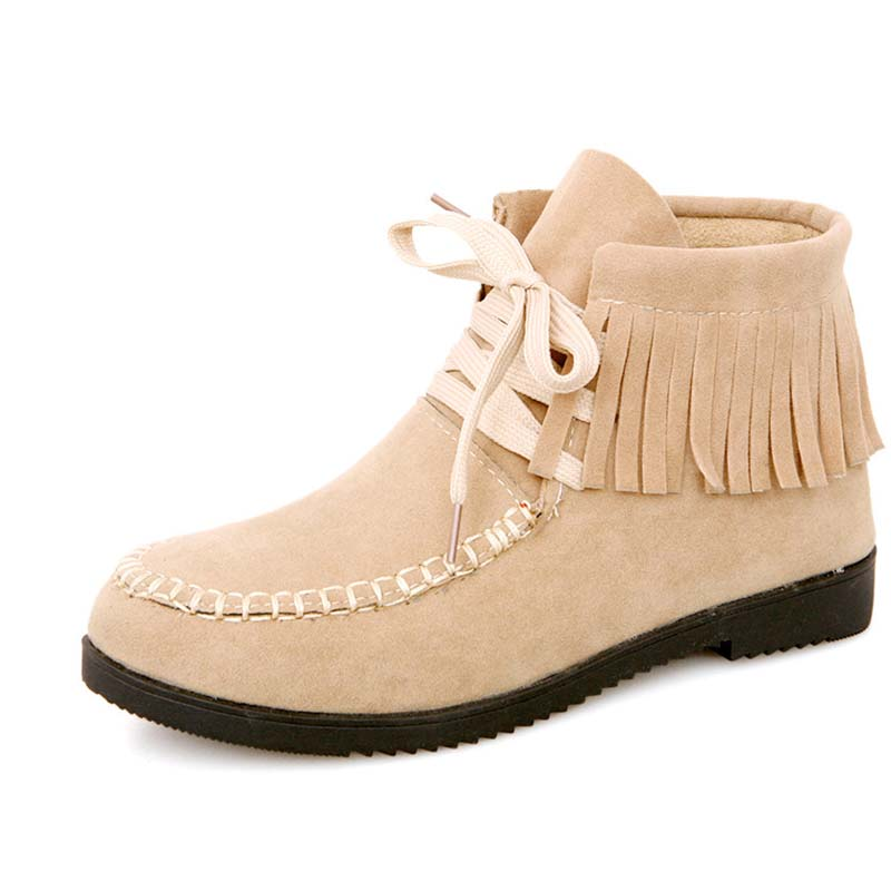 Fashion Round Toe Spring/Autumn Women Boots  Flats Shoes Women Ankle Boots Tassels Hot Selling Black Beige Yellow <br><br>Aliexpress