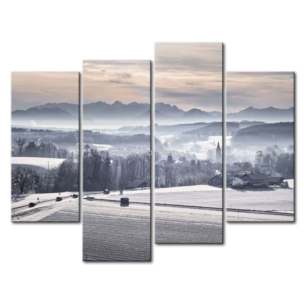 3 Piece Wall Art Painting Hilltop Village In Winter Print On Canvas The Picture City 4 5 Pictures Oil Prints For Home Decor
