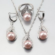 11,11 Heißer Verkauf 925 Silber Grau Natürliche Perle Schmuck Sets Ohrringe Anhänger Halskette Ring Für Frauen Costuming Dekoration(China)