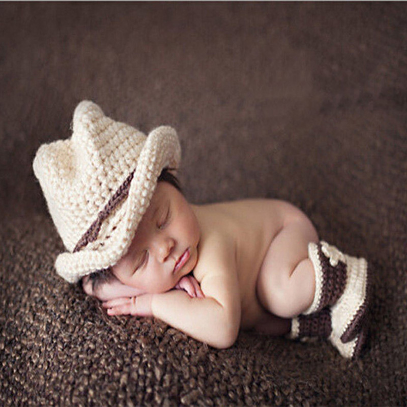 2015 Hot Sale Handmade Crochet Knitted Newborn Baby Photography Props Costume Beige Cowboy Children's Photography Cap+Shoes(China (Mainland))