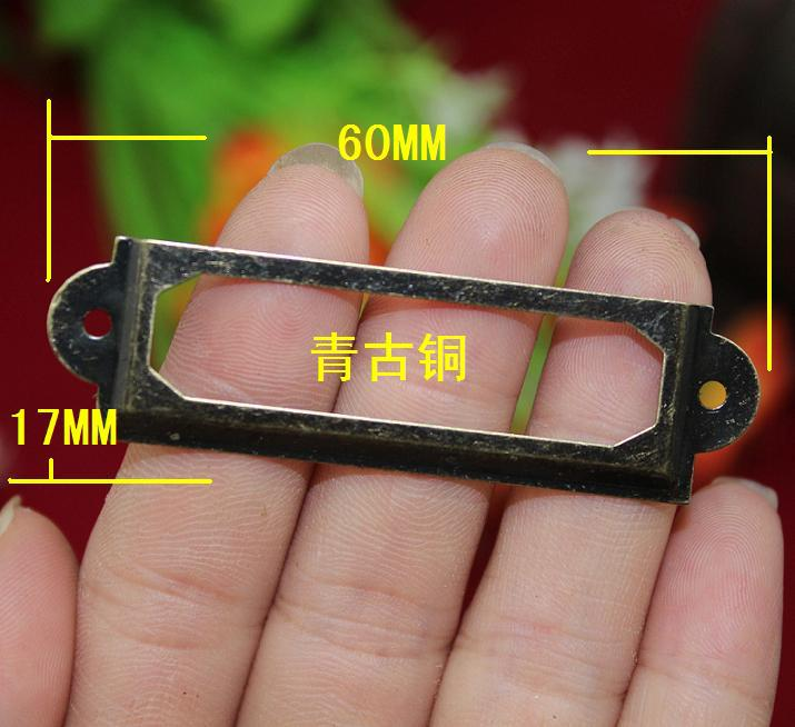 100Pcs cheap Antique bronze color Iron Label Frame Card Holder 60x17mm with screws<br><br>Aliexpress