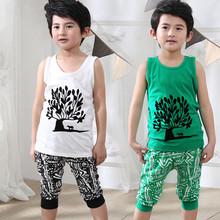 2016 Brand Summer Boy Sport Fashion Clothing Set Sleeveless Vest+Short Pants Summer Baby  Print Vintage Clothes Set High Quality