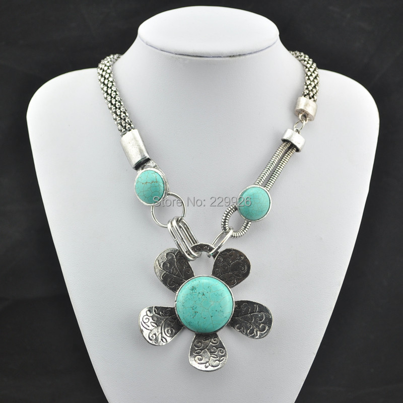 N68Y Turquoise Flower Necklace 1 Pc Vintage Look Tibet Alloy Antique Silver Plated nice gift Women Jewelry Natural Turkey Stone(China (Mainland))