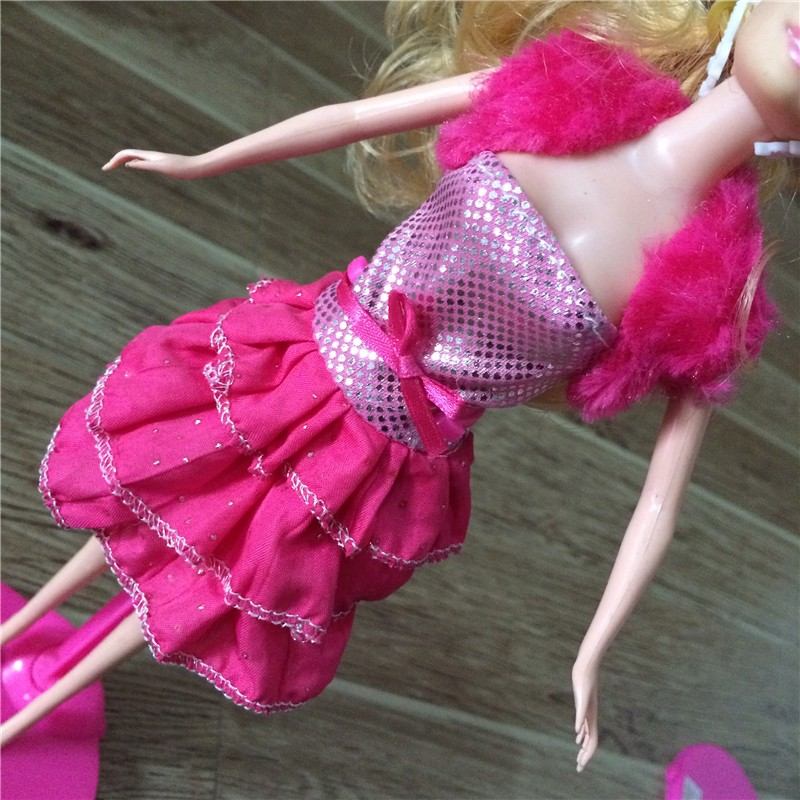 10 Pcs/ lot New Beautiful Handmade Party Clothes Fashion Dress for Noble Barbie Doll,Free shipping,girls gift fashion doll dress