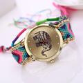 Excellent Quality Relogio Women Girl Handmade Weaved Braided Prinnt Watch Elephant Bracelet Quarzt Clock Hours Reloj
