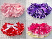 Baby Ruffle Bloomers Layers Baby Diaper Cover Newborn Girls Shorts Toddler Cute Summer Satin Pants with Skirt Free Shipping
