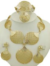 2016 Fashion Dubai  Gold Plated Jewelry Sets 18K  Costume Big Design Nigerian Wedding African Jewelry Sets(China (Mainland))