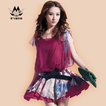 Summer new arrival 2013 fashion women's vintage pleated short-sleeve chiffon one-piece dress gradient color print puff skirt
