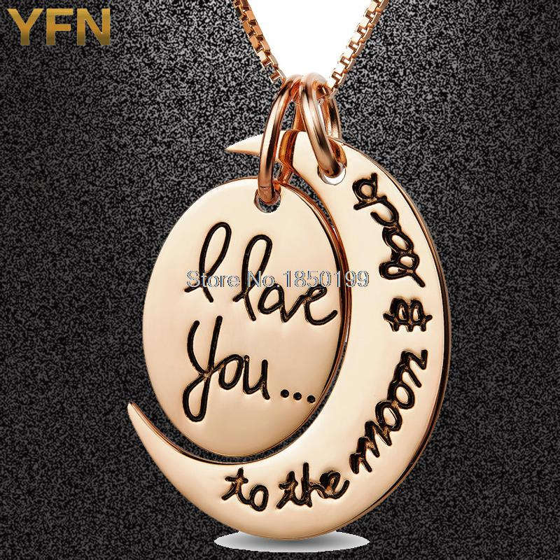 GNX0406-M Pure 925 Sterling Silver Necklace Rose Gold Plated Engraved Jewelry Moon Pendant Necklace Valentine's Gift For Women(China (Mainland))