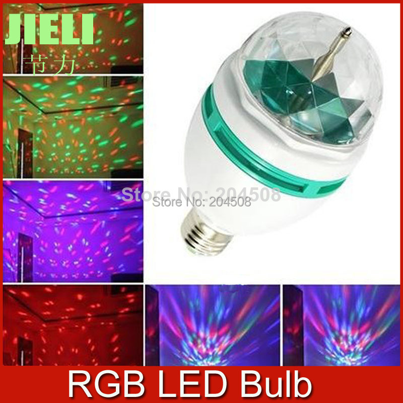 2014 New Style RGB Full Color E27 3W AC85-265V LED Bulb Crystal Auto Rotating Stage Effect DJ Mini Laser Disco Stage light lamp<br><br>Aliexpress