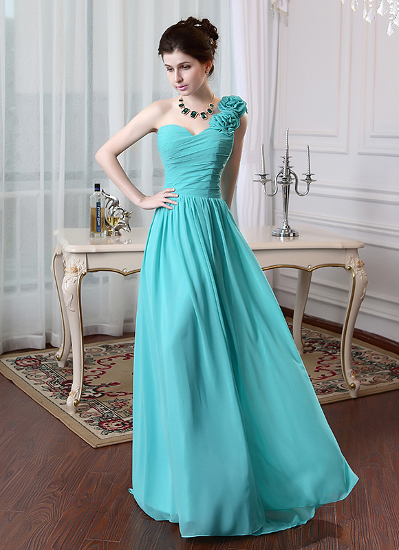Real photo ready One shoulder chiffon vestidos de fiesta floor length imported long party dress chiffon lace up back CPS091(China (Mainland))