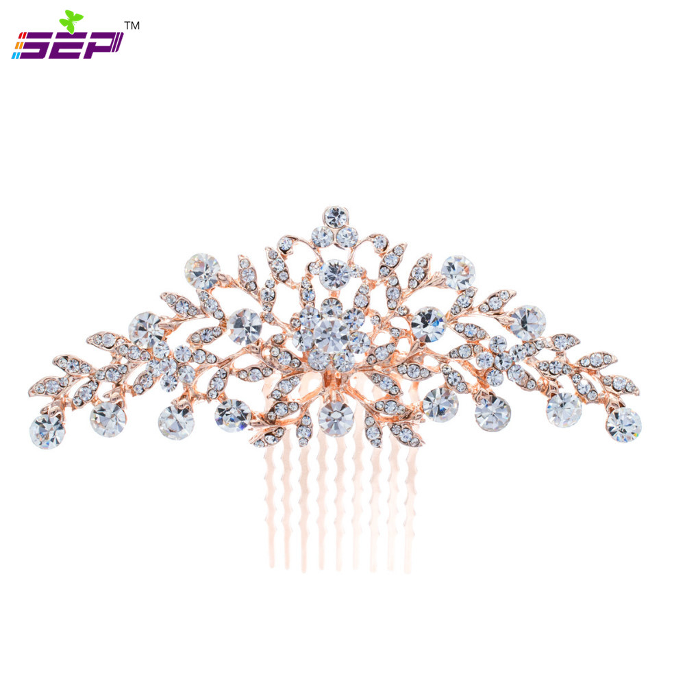 Vintage Rose Gold Plated Flower Hair Comb for Wedding Hair Accessories Rhinestone Crystals Bridal Hairpins Wholesale COFA2944(China (Mainland))