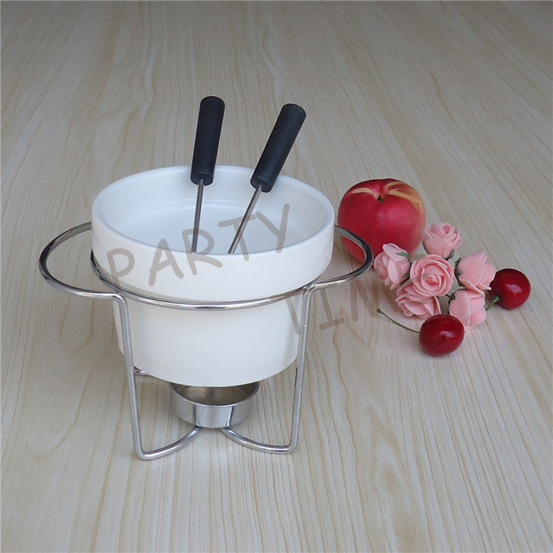 ceramic fondue set cheese butter warmer porcelain chocolate pot in fondue sets from home