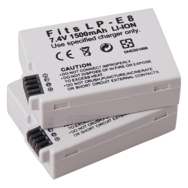 1500mAh LP E8 digital batteries Li ion LP E8 LPE8 Camera Battery pack For Canon EOS