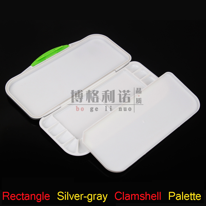 Rectangular Silver-gray Clamshell Box Watercolor Palette / Gouache / Propylene / Toner Cartridge Color Palette Painting Supplies(China (Mainland))