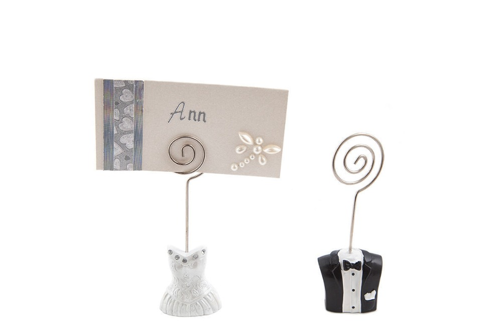 Set of bride groom wedding place card name holders table for Table number holders