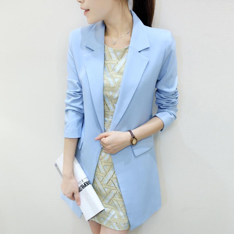Осень / зима длинная женское костюм пальто приталенный тонкий темперамент женщины рабочий одежда синий белый плащ