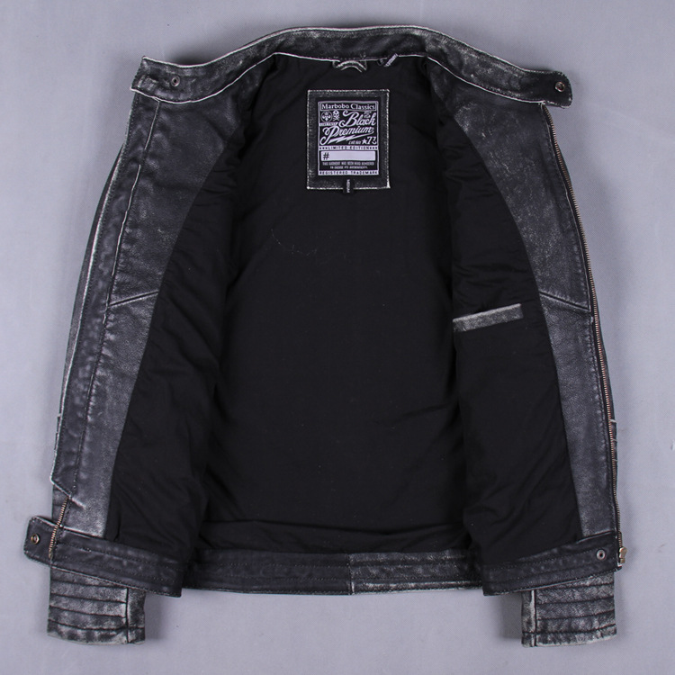 genuine leather high quality Back embroidery Harley leather jacket male stand-up collar Slim leather first layer of leather shor(China (Mainland))