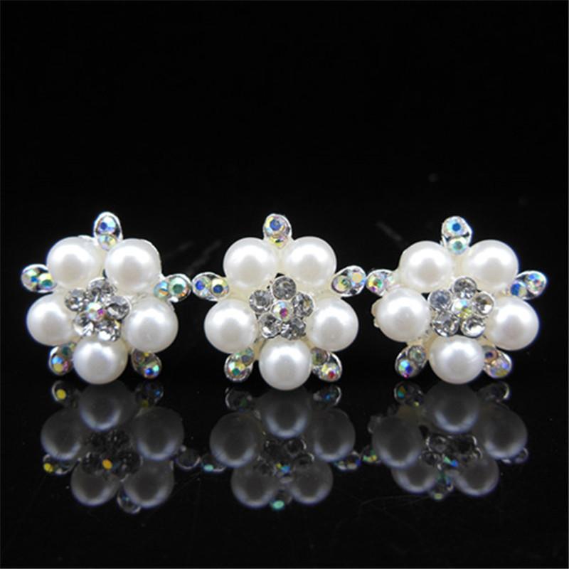 Wholesale 100 Pcs Wedding Bridal Pearl Hair Pins 5 Flower Crystal Hair Clips Pearl Jewelry