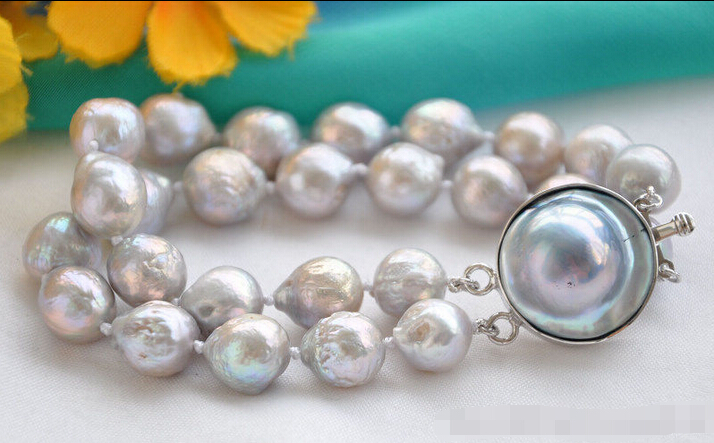 fast shipping&gt;z5875 8 2row 12mm gray almost round Edison PEARL bracelet mabe clasp<br><br>Aliexpress