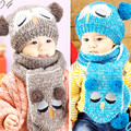 Cute Owl Unisex Baby Boys Girls Knit Hats Scarfs Sets Kids Knitted Beanie Crochet Caps Baby