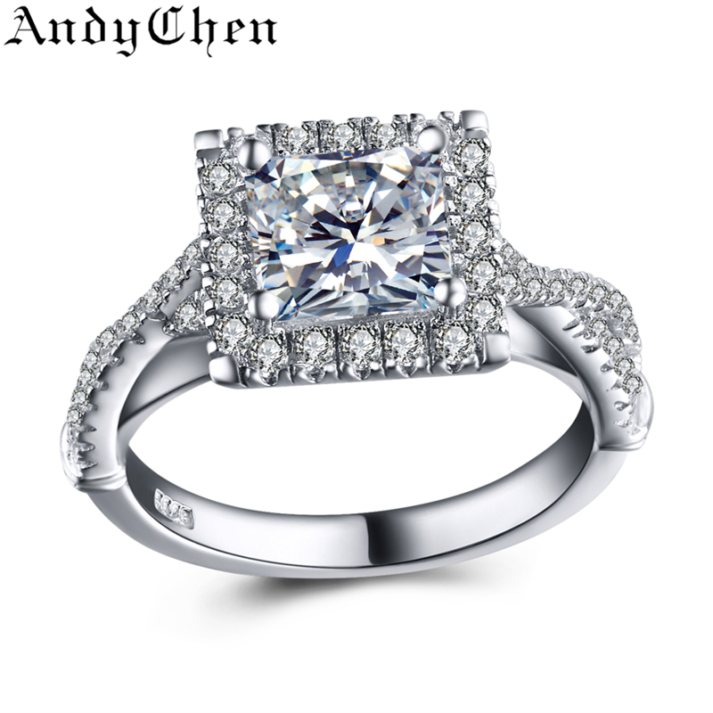 925 Sterling Silver Jewelry Square Pure Solid 4.5 Gram CZ Diamond Genuine Wedding Rings For Women Bague Engagement Bijoux SSR004(China (Mainland))