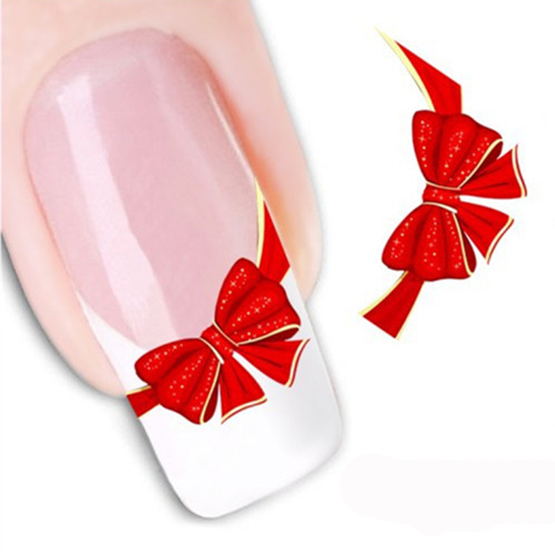 1Sheet Fancy Red Tie Sweets Casual Water Decals Nail Stickers Water Mark Beauty Decorations Foils French Tips Tool Nails Decals(China (Mainland))