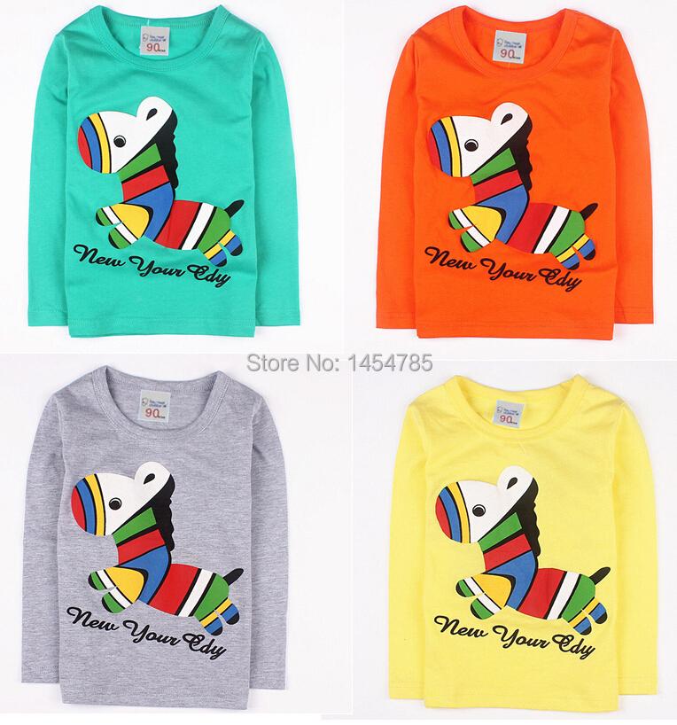 Hot 2015 New! Children clothes boys girls unisex t shirt multicolor optional cartoon 100% cotton short children's t-shirt T64(China (Mainland))