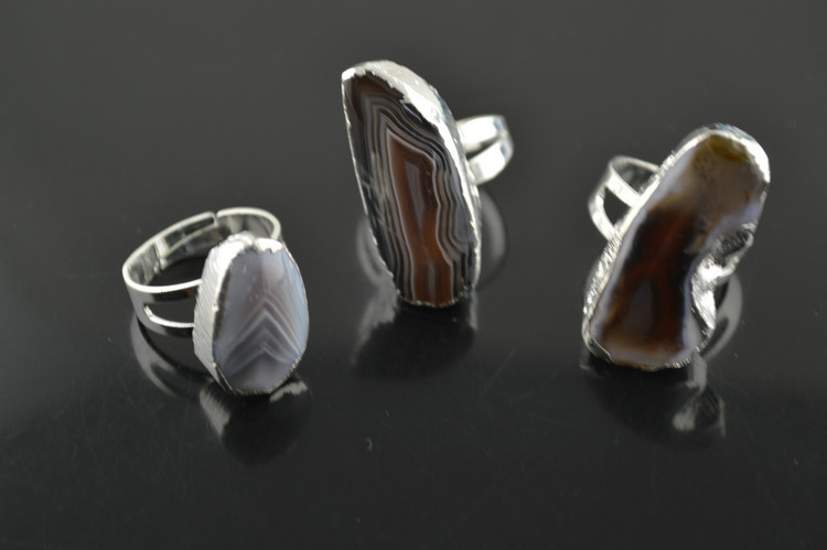 Gray Color Natural Persian Agate Rings Silver Plated Jewelry For Luxury Women Finger Ring 3pc/lot<br><br>Aliexpress