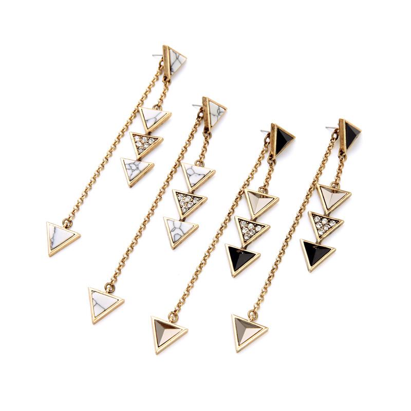 Triangle Pendant Long Earring Jacket Fashion Stone Resin ...