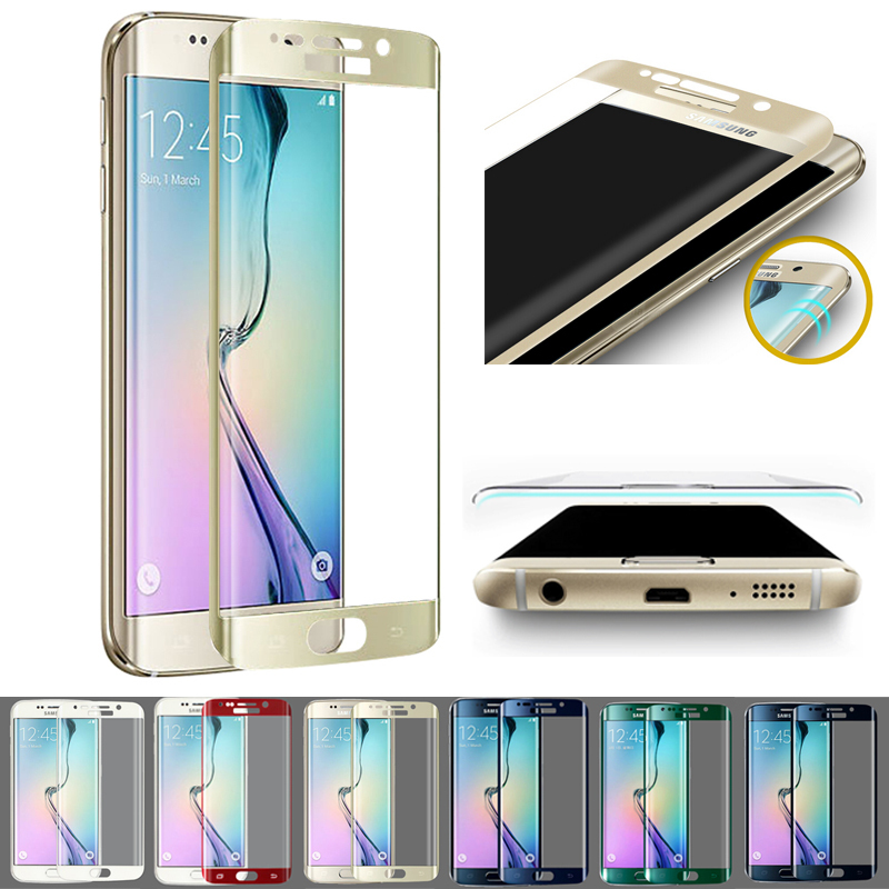 Hot Colorful 3D Curved Front Cover Full Coverage Tempered Glass Screen Protector Film Skin For Samsung Galaxy S6 Edge G9250(China (Mainland))