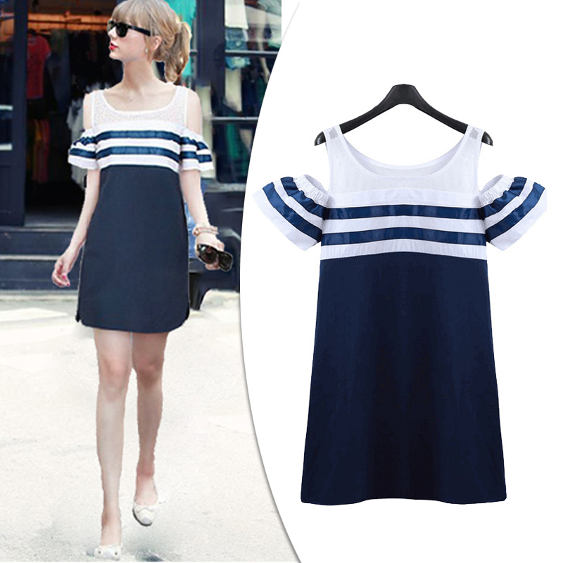 Free Shipping Summer Blue Cotton Stripe Short Sleeve Strapless Marine School Patchwork Lace Dress 2015 New Arrival Promotion(China (Mainland))