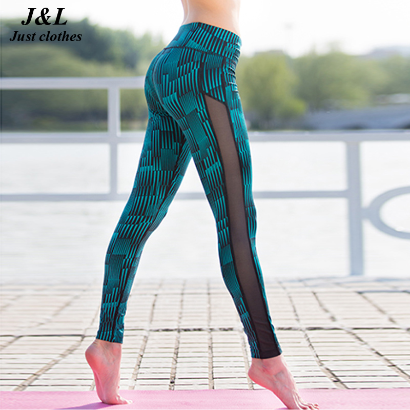 Fashion New Stripe Mesh Patchwork Women Pants Sport Leggings Fitness Summer Print Dry Quick Force Exercise Sportspants For Women(China (Mainland))
