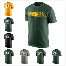 Free Shipping New Men's Legend Staff Practice Jersey Performance T-Shirt - Green Aaron Jordy Rodgers Fast Wordmark Nelson(China (Mainland))