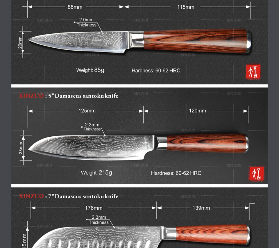 Buy XINZUO 5 pcs kitchen knives set 73 layers Damascus kitchen knife high quality chef cleaver knife wood handle free shipping cheap
